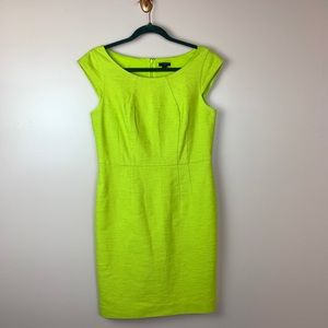 Ann Taylor Fitted Yellow Dress Cap Sleeve 8